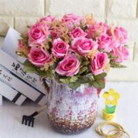 Sahte Gül Demet Simülasyon Yağlı Boya Düğün Ev Dekoratif Yapay Çiçekler için Köpük Fruit ile Rose (5 / adet kaynaklanıyor)