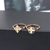 Korean style stainless steel fashion, round flower titanium steel plated gold open ring Japanese and Korean girls 18K rose gold tail ring