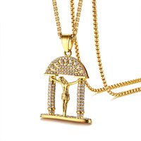 Bling Cubic Zirconia Jesus Piece Mens Necklace Gold Color St...