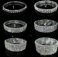 1/2/3/4/5/6 linha de tênis pulseira de cristal de noiva pulseira de strass cstl pulseiras stretch pulseira de strass casamento nupcial