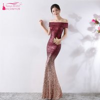 Mermaid Off- the- shoulder Bridesmaid Dresses Contrast Color O...