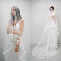 2018 Nuevo Llegada Velos de boda Tres metros Veils Largos Encaje Applique Dos capas Soft Tulle Catedral Longitud Barato Velo Nupcial