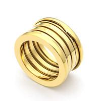 Titanyum çelik Sıcak Fashiion Eleastic Marka lüks düğün bahar yüzükler kadın takı için Geniş versionThe son 18 k altın logolu Aşk Yüzük