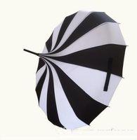 (10 pcs / lot) Creative design noir et blanc rayé Parapluie long manche droite Pagoda Umbrella Livraison gratuite