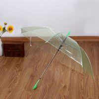 Прозрачный зонтик с длинной ручкой полуавтоматические женские зонтики дождь ультра легкий женщины дети зонтик дождь зонтик
