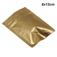 매트 골드 눈물 노치 재 밀봉 알루미늄 호일을 가진 200PCS 8x12 cm 지퍼 잠금 마일 라 호일 포장 가방 누출 증거 식품 보관 파우치 냄새