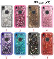 Für iPhone XR XS MAX Fälle 7 Plus Samsung S8 S9 Plus Hochleistungsstoßfest Staubdicht Hybrid-Roboter Rüstung Glitter Liquid Defender Fall