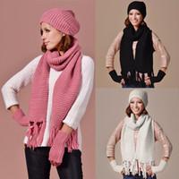 Bonnet de ski unisexe tricoté bonnet chaud écharpe et gants ensemble d hiver 4cd6938ccc2