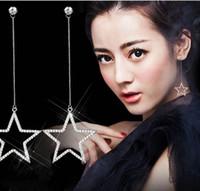 Горячая новая мода пентаграмма Циркон бахромой висит серьги с бриллиантами серьги с бриллиантами Звезда серьги Бесплатная доставка HJ185