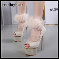 16cm beige fur synthetic suede peep toe platform ultra high ...