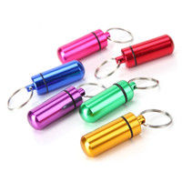 Metal container keychain aluminum pill box holder Portable M...