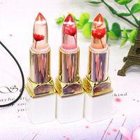 Marca Transparente Flor Jelly Lipsticks Natural Red Lip Stick Temperatura Cambio de Color de larga duración Hidratante Maquillaje Coreano
