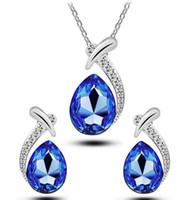 Colar de diamante brinco conjunto de cristal pingente colar strass dinest de água brinco declaração colar jóias cadeia de brinco conjunto