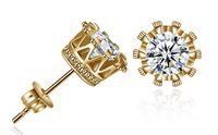 Группа новая корона свадьба Стад серьги 2018 Новый стерлингового серебра 925 CZ имитация алмазов участия красивые ювелирные изделия Кристалл серьги