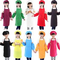 3 قطعة / المجموعة أطفال المريلة يرفعون مع كم الشيف قبعة روضة مطبخ الخبز اللوحة الطبخ مآزر الأطفال الغذاء لصبي فتاة 10 ألوان