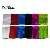 Pequeno Aberto Top Mylar Embalagem Bolsa Tipo Plana Sacos de Folha De Alumínio Colorido A Granel de Alimentos A Vácuo Saco de Calor Sealable 200 pçs / lote