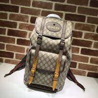 Top Quality Luxury Celebrity design Lettera Fibbia in rilievo Zaino in pelle di tela marrone Uomo Donna 473869 Borsa da viaggio in tela
