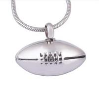 Colar da urna da jóia da cremação Rugby / basquetebol / basebol / encanto do futebol para o pendente memorável dos homens da lembrança das cinzas com corrente