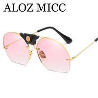ALOZ MCC Полуободковые круглые солнцезащитные очки женщин бренд дизайнер негабаритных мода солнцезащитные очки для женщин Oculos UV400 A553