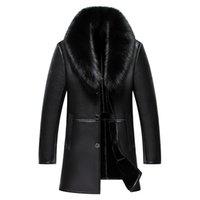 2017 Nouvelle arrivée Longue Real Big col de fourrure d'hiver Veste en cuir pour hommes de haute qualité chaud épais manteau en cuir pour homme