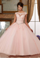 Splendida Quinceanera Abiti Blush rosa Bateau Neck Cap Sleeve Appliques Pizzo Paillettes in rilievo Ball Gown Sweet 16 Abiti