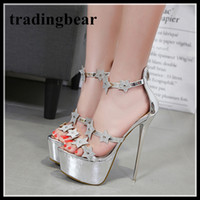 16cm Luxury Silver Star Rhinestone Platform High Heel Shoes ...