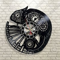 Chameleon Lizard Animal Elements Vinyl Orologio da parete creativo Home Decor Modern Room Decoration Wall Art Clock (Dimensioni: 12 pollici, Colore: