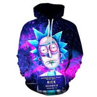 2018 New Custom 3D Felpe Hip Hop Uomini / Donne Cappello Divertente Stampa Rick Morty Crazy Scientist Inverno Allentato Sottile Hoody Hoody Top