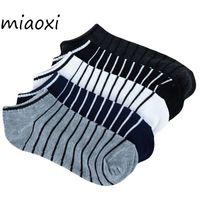 Оптовая продажа-Miaoxi полоса мужчины лето носок 5 пар / лот пакет мужской легкие носки хлопок короткие носки Оптовая продажа пары носки