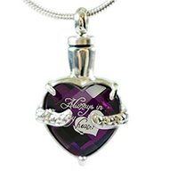 Cremation Urn Necklace for Ashes Always in my Heart Engraved...