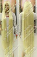 wig150cm 60''platum شقراء طويل مستقيم شعر عيد الميلاد حزب حلي الباروكة