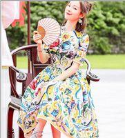 XXXL spedizione gratuita 2018 estate a line manica corta abito prom moda o collo flora stampa marchio stesso stile abito sms