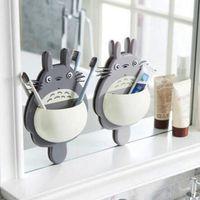 1 Adet Diş Fırçası Duvara Montaj Tutucu Sevimli Totoro Enayi Emme Banyo Organizatör Aile Araçları Aksesuarları Damla Nakliye