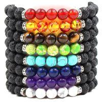 Natürlicher schwarzer Lavastein Perlen 7 Chakra Armband Ätherisches Öl Diffusor Armband Tigerauge Türkis Vulkangestein Perlen Yoga Armbänder