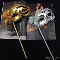 Frau Mask auf Stick Sexy Eyeline venezianischer Maskerade-Partei-Schablonen-Paillette Spitze-Rand-Lateral Blumen-Gold-Silber-Farbe 3 5GN dd