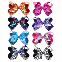 Fish scales JoJo Bow tie bow- knot rosette 6 inch Flake Merma...