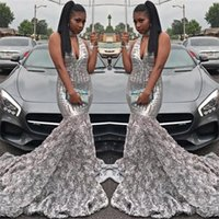 2018 Gorgeous Silver Mermaid Prom Dresses Deep V Neck Lentejuelas Top Handmade Flower African Black Girls Vestidos de fiesta de noche BA7968