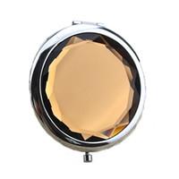 2018 portátil senhora de cristal de bolso espelho de maquiagem lados duplas dobráveis compõem compacto espelhos melhores presentes
