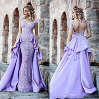 Lavender Evening Formal Dresses with Detachable Train 2018 L...