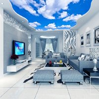 Benutzerdefinierte Decke Wandbild Tapete 3D blauer Himmel und weiße Wolken Wohnzimmer Schlafzimmer Decke Hintergrund Fototapete Wallcoverings
