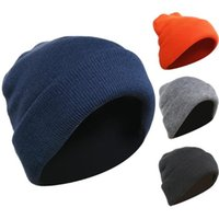 Four layers thick autumn winter men's knitted hat to protect against wind and cold and keep ears warm