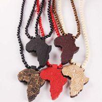 Afrique Carte Pendentif Bon Bois Hip-Hop En Bois NYC Collier De Mode