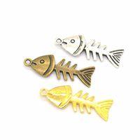 200 PCS / Pendentes Lote espinha de peixe Peixe esqueleto pingente grânulos 26 * 12 milímetros bons para Craft, fazendo jóias