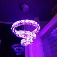 Cambio de color RGB LED Luz de luz Luz de lujo Lámpara de cristal redonda 3 Anillos Pendente Luminaria suspendida Luminaria para la tienda de bar