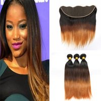 Indian Ombre 1B 4 30 Human Hair Weaves and Frontal Closure T...