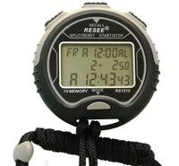Cronómetro electrónico con 3 filas de mano Cronómetro digital de deportes LCD Cronómetro profesional Cronógrafo Contador RS1010 impermeable DHL libre