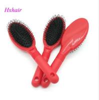 Großhandel - 10 stücke Nr.3 Schleife Pinsel roter Griff für Haarverlängerung / professionelles Haarkamm