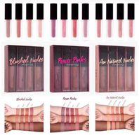 Nouvelle beauté chaude The Nu Love Love Edition Liplgloss Matte Matte Mini Lipstick Ensemble 4pcs / Set Rose Nu Beauté de Beauté à lèvres DHL Expédition + cadeau