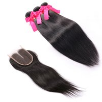 Unprocessed Brazilian Straight Hair With Closure 3Pcs Lot Go...