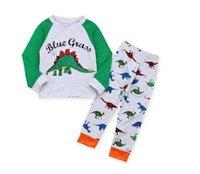 Мальчик с длинным рукавом динозавр пижамы набор детские Письмо печати досуг одежда костюм Детская одежда Одежда две части CN G037